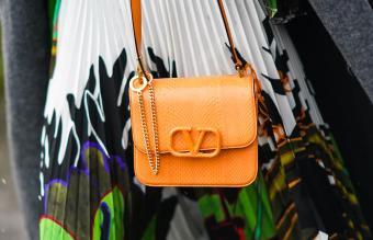 orange Valentino leather bag