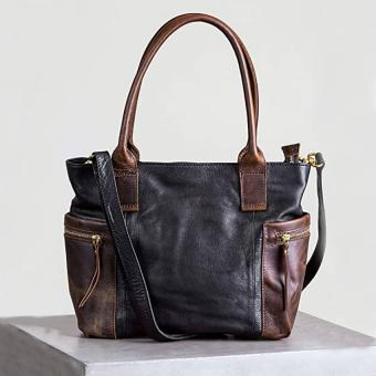 Roma Two-Tone Leather Crossbody Tote Bag