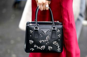 Black Prada leather bejeweled bag