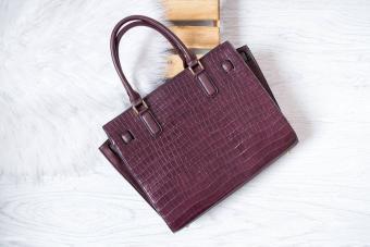 Large crocodile burgundy bag