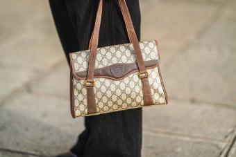 brown Gucci monogram bag