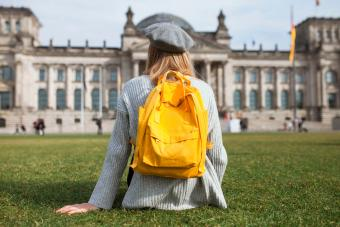 young woman with daypack