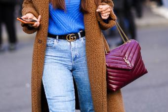 burgundy Yves Saint Laurent Loulou mediun handbag / Getty Editorial Use