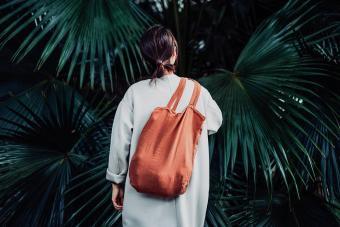 brown reusable tote bag