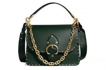 COACH, Rivets Mixed Leather Beat Shoulder Bag