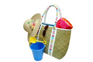 Image of a cheap straw beach tote