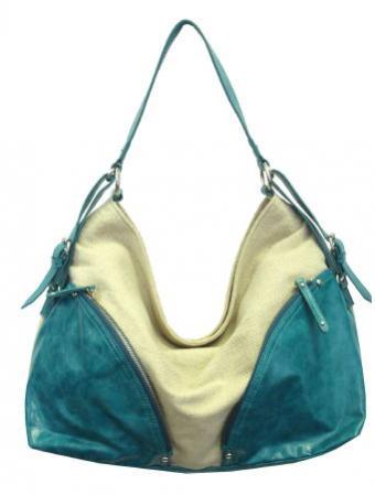 Blue Hobo Canvas Handbag with Front Pockets