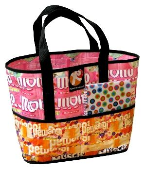 colorful recycled handbag tote