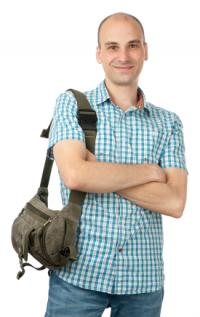 Man with small bag