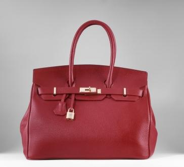red designer bag