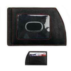 Black Leather Ultra-Slim Men's Front-Pocket