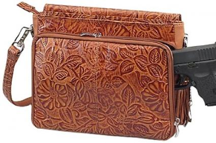 GTM Tooled Cowhide Gun Holster Purse