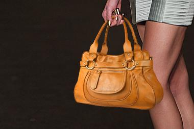 Luxury handbag on fashion show runway
