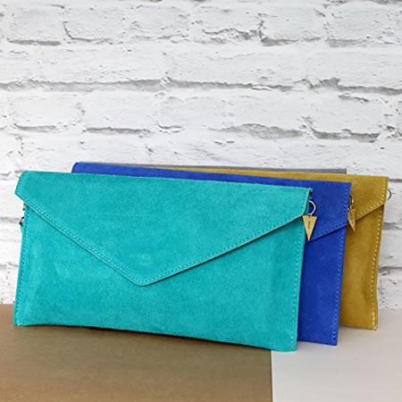 cbeb436e7ff Posh Totty Designs Personalized Suede Envelope Clutch Bag