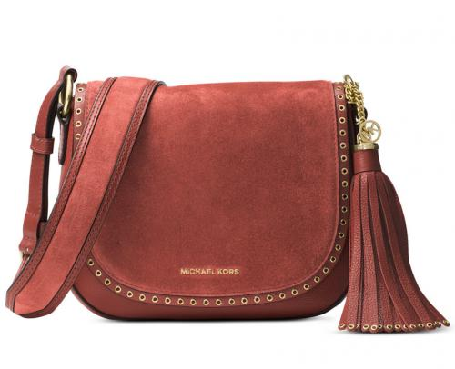 Michael Kors Brooklyn Suede Medium Saddle Bag