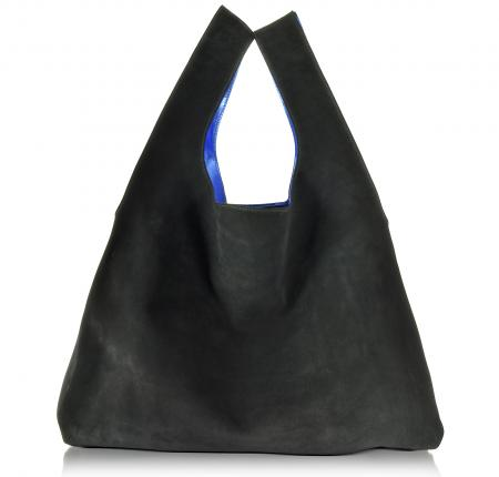 MM6 Maison Martin Margiela Black Suede/Electric Blue Laminated Leather Tote Bag