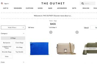 Screenshot of outnet.com/en-US/Shop/Bags