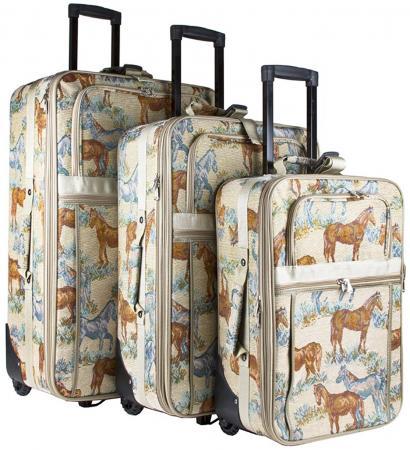 Three-Piece Luggage Set Western Horse Tapestry Luggage