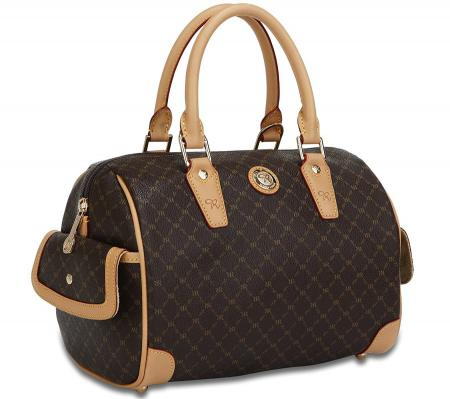 Signature Brown Small Boston Bag by Rioni