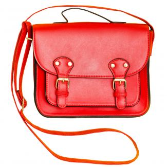 Red satchel with buckles