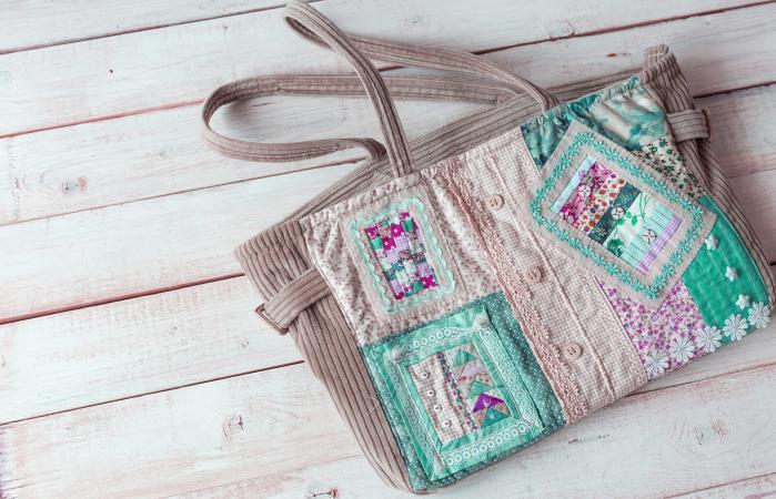 Green patchwork handbag