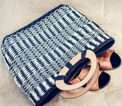 Vintage summer wicker straw beach bag and leather sandals