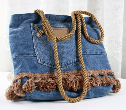 Landies handbag made from an old pair of denim jeans