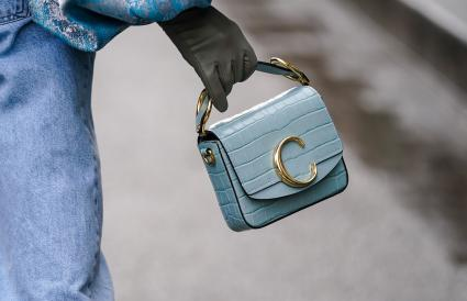Chloe blue crocodile pattern bag