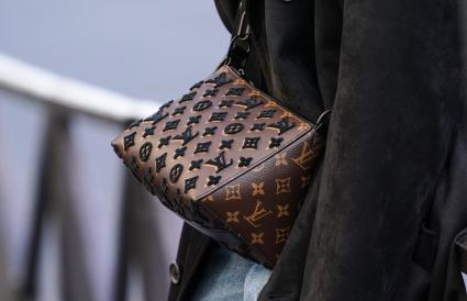 brown Vuitton monogram bag