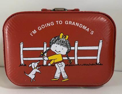 Girl With Pigtails Going to Grandmas Red Suitcase