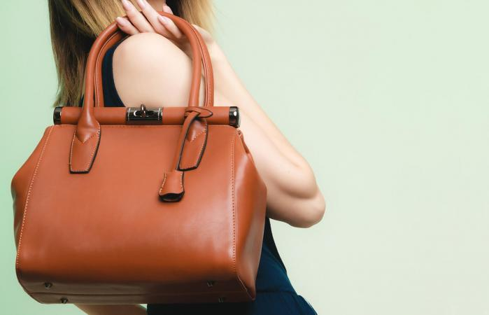 Brown leather bag in female hand