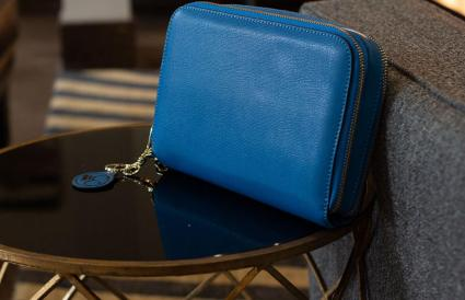Cool Blue Leather Compact Carrie