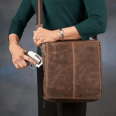 Vintage Concealed-Carry Messenger Bag