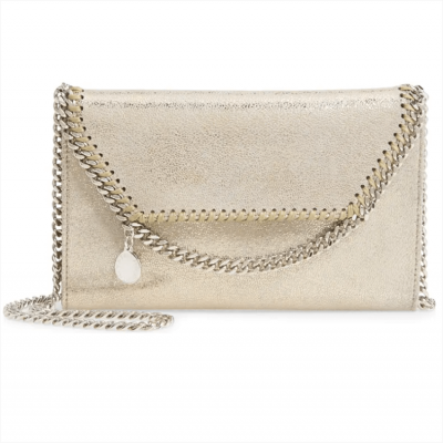 Stella McCartney Mini Falabella Metallic Faux Leather Crossbody Bag