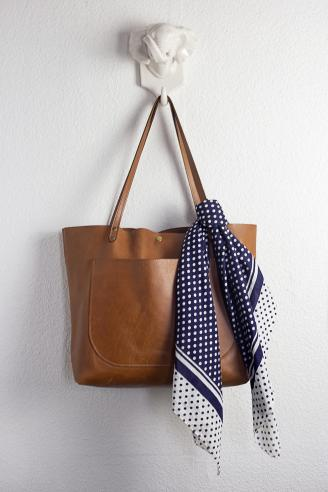 Purse With Simple One Knot Trailing Scarf