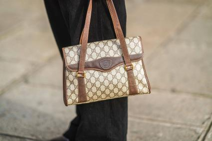 brown Gucci monogram bag
