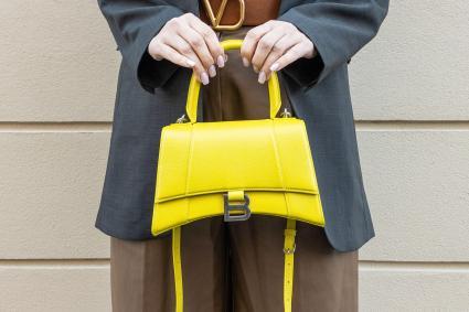 neon yellow Balenciaga bag