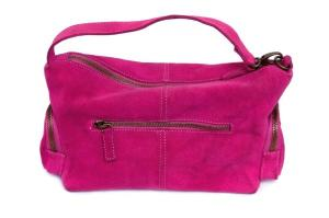 Pink suede shoulder bag with adjustable straps