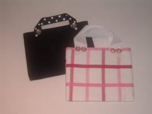 Annie bags in black and pink/white fabrics