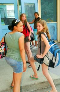 students showing various backpack styles and trends