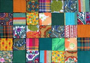 Green-toned patchwork fabric