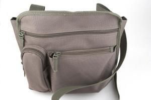 Image of a small, tan organizer purse