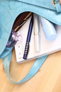 light blue messy purse