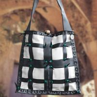 black and white checkered rubber purse