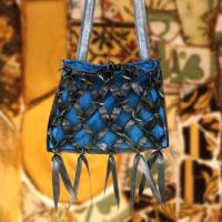 blue and black rubber purse