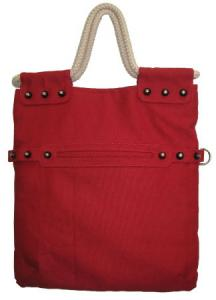 Red Canvas Tote with Rope Handles