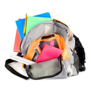 school bag with supplies