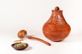 Native American Clay Pot with Rawhide Shaker and Dish of Healing Herbs