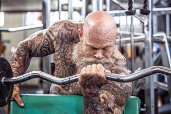 Gym Workout for a senior man