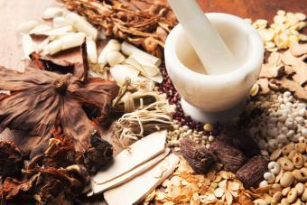 Chinese Herbal Medicine with Mortor and Pestle